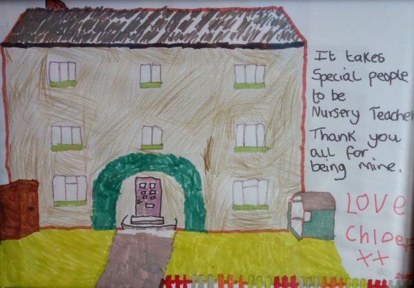 A child's drawing of the nursery rhymes day nursery, Chesterfield, Derbyshire
