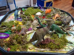 Dinosaurs in the Bunny Room at Nursery Rhymes day Nursery