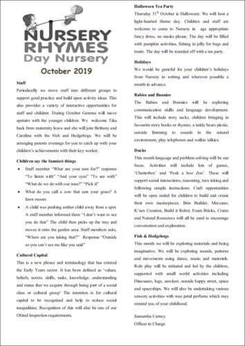 nursery rhymes october newsletter